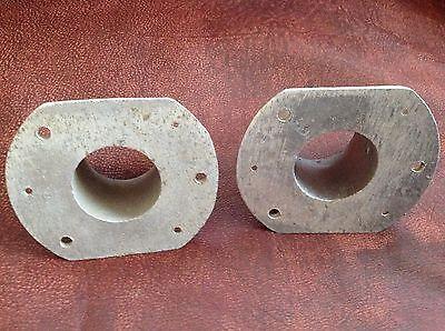 "Vintage 2"" Aluminum Lever Rod Rail End Brackets (2) Burbank California USA 4"