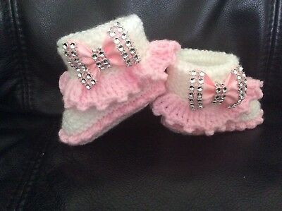 NEW hand knitted  Romany Bling baby girl booties/hat and headband  0-3 months 3