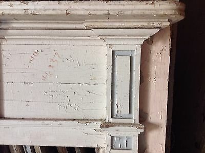 Early New England Fireplace Mantel Mantle Raised Panels 19th C 2