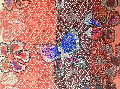 Stunning Indian Red Blue Brown Wool Shawl With Flower & Butterfly Design 3
