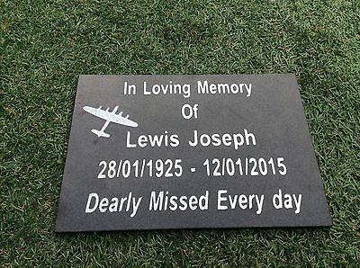 Personalised  Black Granite Memorial Plaque Grave Stone Marker Headstone 30x21cm 3