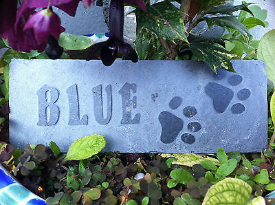 Carved slate Pet memorial garden plaque, marker, dog, cat, personalised paw 2