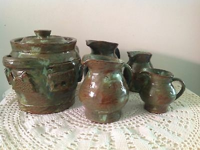 Arie Snel Signed Hand Made Pottery Set - 4 Jugs & Lidded Canister With Handles. 2