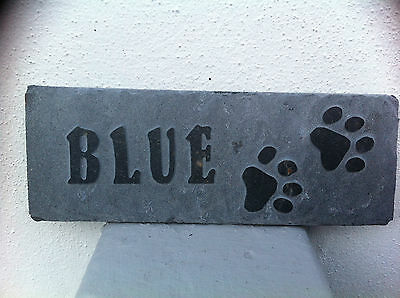 Carved slate Pet memorial garden plaque, marker, dog, cat, personalised paw 4