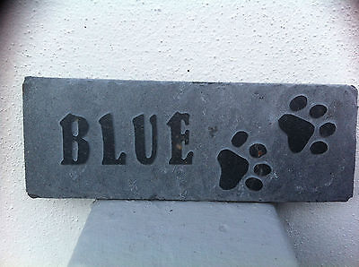 Hand made & carved pet memorial slate, garden plaque dog, cat, rabbit