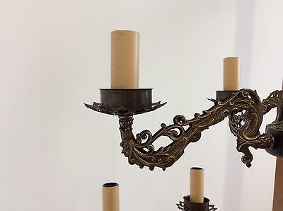 Vintage Antique Style Two Tier 12 Arm Brass  Chandelier 6