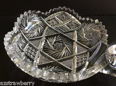"VTG AMERICAN BRILLIANT CLEAR CRYSTAL CUT GLASS HANDLED NAPPY DISH 5"" pinwheel 7"