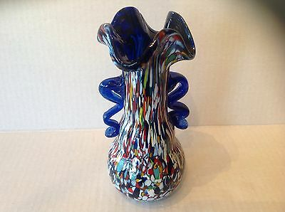 Vtg Murano glass Flared Vase with Murrine blue Handle 3