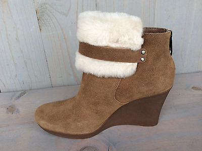 b333774afdc 2 of 10 Ugg Antonia Chestnut Suede Fur Cuff Wedge Ankle Boots Booties Us 11  Nib
