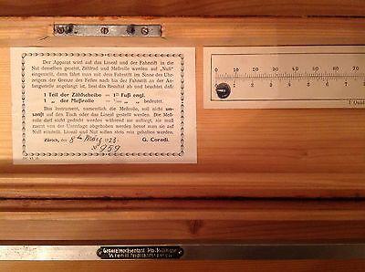 Rarität von 1923, Original Ledermesser von G. Coradi Nr.959 mit Holzkasten