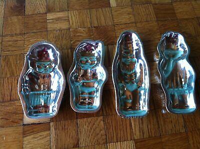 vier alte  Schokoladenförmchen Weihnachtsmann Kind Vogel Männchen 2