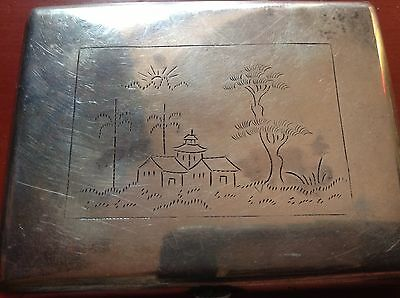 Chinese Antique Handmade Sterling Silver Cigar Box House Tree Relief Stamp Seal 5