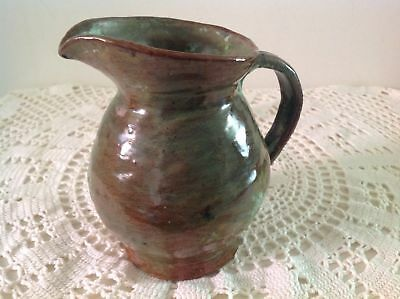 Arie Snel Signed Hand Made Pottery Set - 4 Jugs & Lidded Canister With Handles. 8