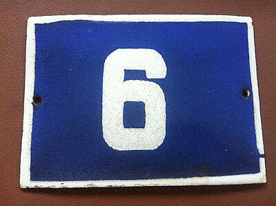ANTIQUE VINTAGE ENAMEL SIGN HOUSE NUMBER 6 BLUE DOOR GATE STREET SIGN 1950's
