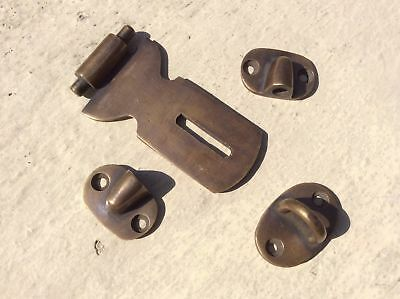 """2 Small catch hasp latch old style house BOX antiques heavy 3"""" solid brass B 3"""