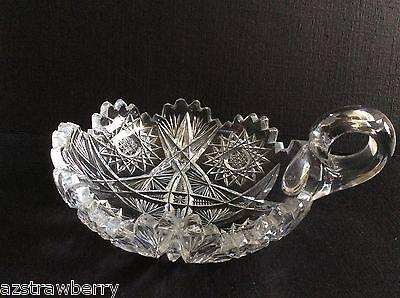 "Vtg American Brilliant Clear Crystal Cut Glass Handled Nappy Dish 6"" 3"