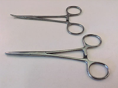"2pc 5"" & 5.5"" Curved & Straight Locking Clamp Hemostat Forceps Stainless Steel 2"