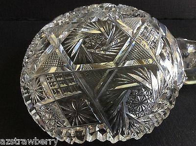 "VTG AMERICAN BRILLIANT CLEAR CRYSTAL CUT GLASS HANDLED NAPPY DISH 5"" pinwheel 6"