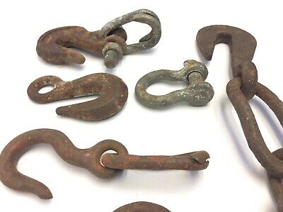 Mixed Vintage & Antique Lot Iron Metal Hooks Chains Hardware Parts Forged USA 10