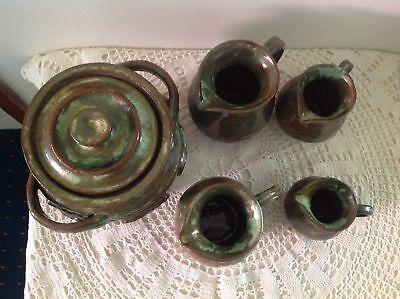 Arie Snel Signed Hand Made Pottery Set - 4 Jugs & Lidded Canister With Handles. 3