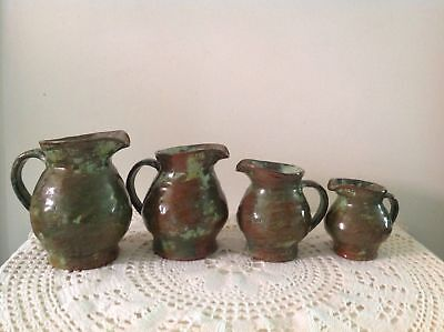Arie Snel Signed Hand Made Pottery Set - 4 Jugs & Lidded Canister With Handles. 12