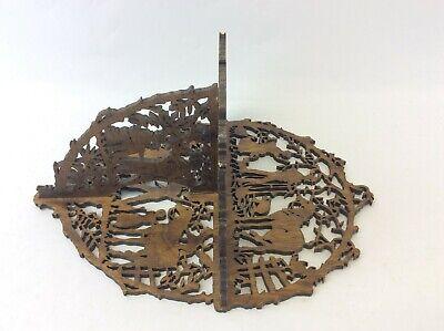 Original Greg Mason 1998 Jigsaw Carved Decorative Shelf Stand Country Scene 3