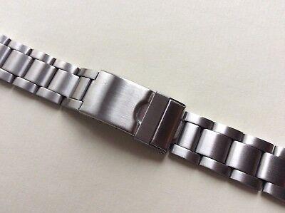 Cinturino in acciaio satinato tipo Oyster ansa curva 20mm steel watch band strap 5