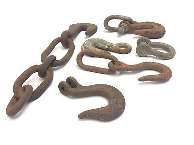 Mixed Vintage & Antique Lot Iron Metal Hooks Chains Hardware Parts Forged USA 5