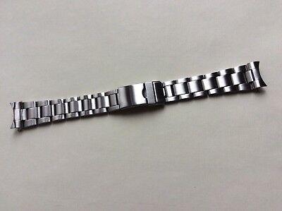 Cinturino in acciaio satinato tipo Oyster ansa curva 20mm steel watch band strap 2