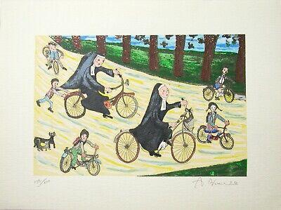 """ANGIOLA BERNARDELLI - """"Suore in bici""""  - Serigrafia cm 40x30 2"""