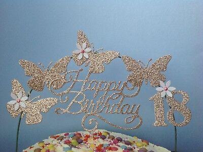 ROSE GOLD SWIRLY Birthday Cake Decoration Glitter Butterfly Topper Arch  flower