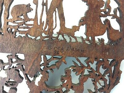 Original Greg Mason 1998 Jigsaw Carved Decorative Shelf Stand Country Scene 10