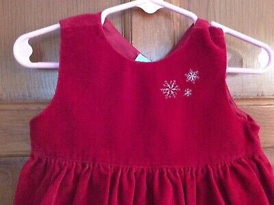 Old Navy CHRISTMAS Dress Red Velvet SILVER Snowflakes Sz 12-18 mo Barely Worn 3