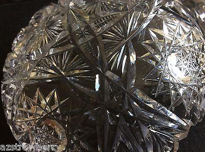 "Vtg American Brilliant Clear Crystal Cut Glass Handled Nappy Dish 6"" 6"