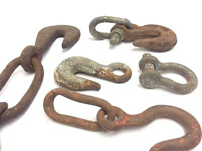 Mixed Vintage & Antique Lot Iron Metal Hooks Chains Hardware Parts Forged USA 6