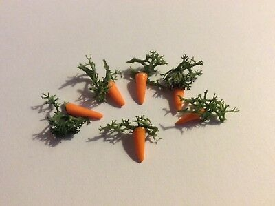 1:12 Scale Strip Of 6 Carrots Tumdee Dolls House Miniature Vegetable Garden