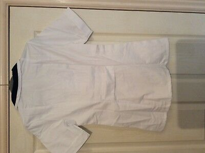 "Alexandra white / blue collar carers nurse s/s top SF1L 30to 34"" chest 3"