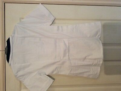 "Alexandra white / blue collar carers nurse s/s top SF1L 30to 34"" chest 4"