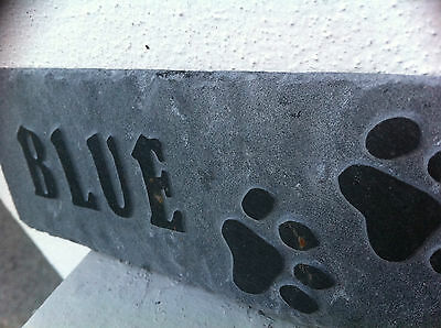 Carved slate Pet memorial garden plaque, marker, dog, cat, personalised