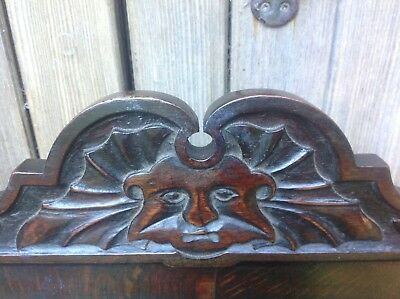 Splendid 17th century demon bat carved oak Wainscot chair Anglesey North Wales 6