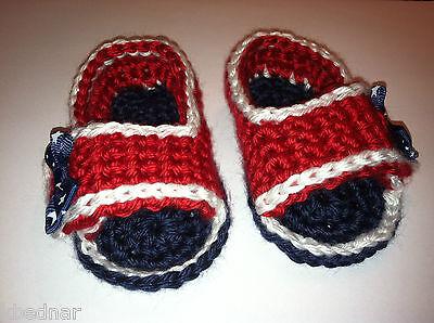 b5d8854393f81 PATRIOTIC RED WHITE Blue BABY SANDALS FLIP FLOPS SHOES CROCHET Size 0-3 Mo