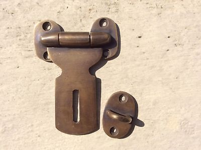 """2 Small catch hasp latch old style house BOX antiques heavy 3"""" solid brass B 4"""