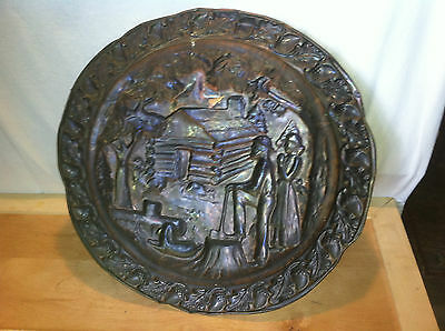vtg Brass copper Stove pipe cover plate fire place hearth Architectural salvage 3