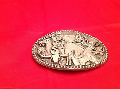 "Vintage Men's Belt Buckle Longhorn Steer ""S"" Western Pewter Cowboy Zee Series 2"