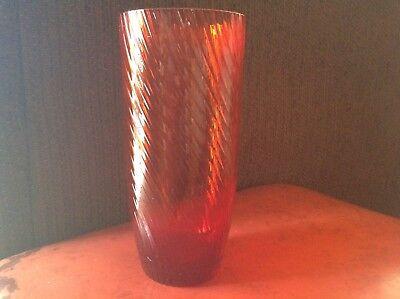 VINTAGE RED RUBY GLASS VASE w METAL MOUNT IN A BIRD MOTIF 3