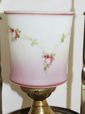 Antique Hand Painted Pink Rose Swags French Parlor Chandelier Gorgeous 3