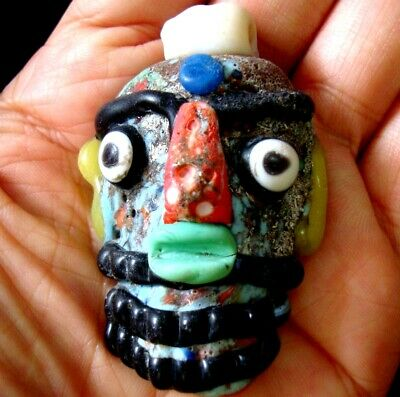 Ancient Phoenician Colorful Face Red Nose Beard Mosaic Glass Bead Pendant 647 8