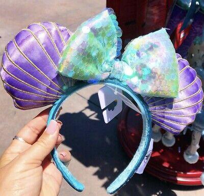 Disney Parks The Little Mermaid Ariel Sequin Iridescent Seashell Ears Headband 3