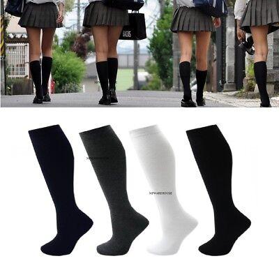 Ladies Cotton Rich Knee High Socks Ribbon Bow Black White Grey 3 Pairs UK 3-5