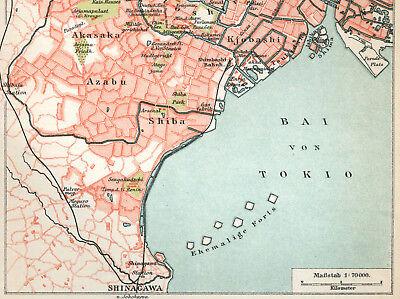 Original Lithographie-Tafel von 1897 TOKIO Tokyo Stadplan Old City-Map Japan